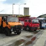 Karosa ŠL 11 vystavená spolu s technologickými vozy PMDP v areálu tramvajové vozovny. 12.6.2004, Jiří Šplíchal.