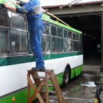 Umývání trolejbusu Škoda 14 Tr. 9.6.2012, Michal Kouba.